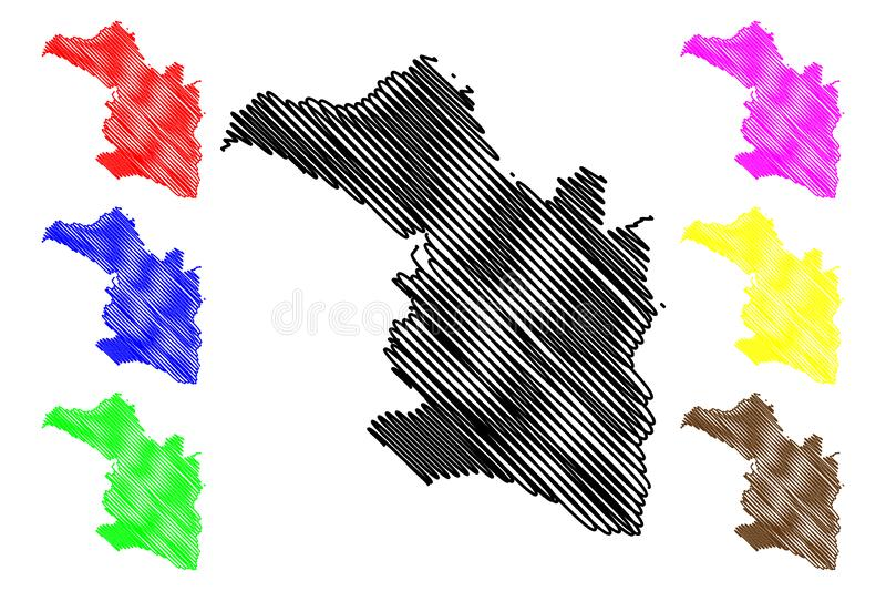 Artibonite department Republic of Haiti, Hayti, Hispaniola, Departments of Haiti map vector illustration, scribble sketch stock illustration