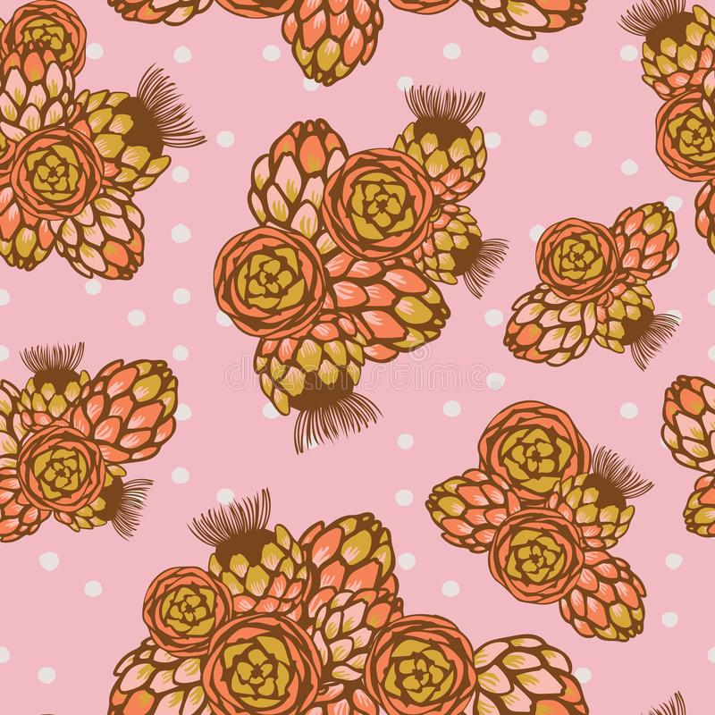 Artichoke flower bouquette seamless vector texture pattern on pink dotted background in autumn colors. Surface pattern design for fabric, paper, backgrounds stock images