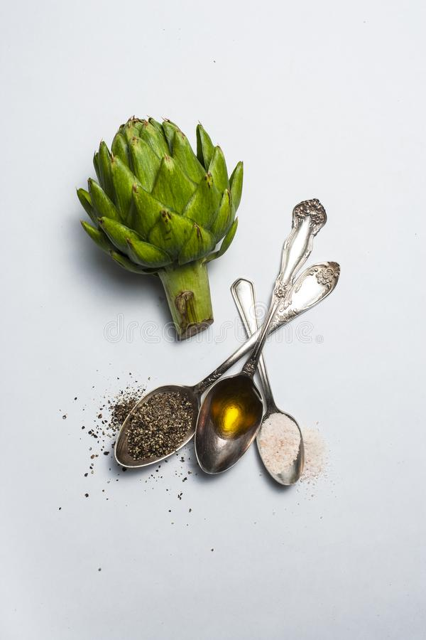 Still life with Artichoke, and spices stock image