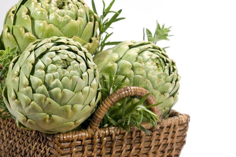 Artichokes in Basket - horizontal stock photo