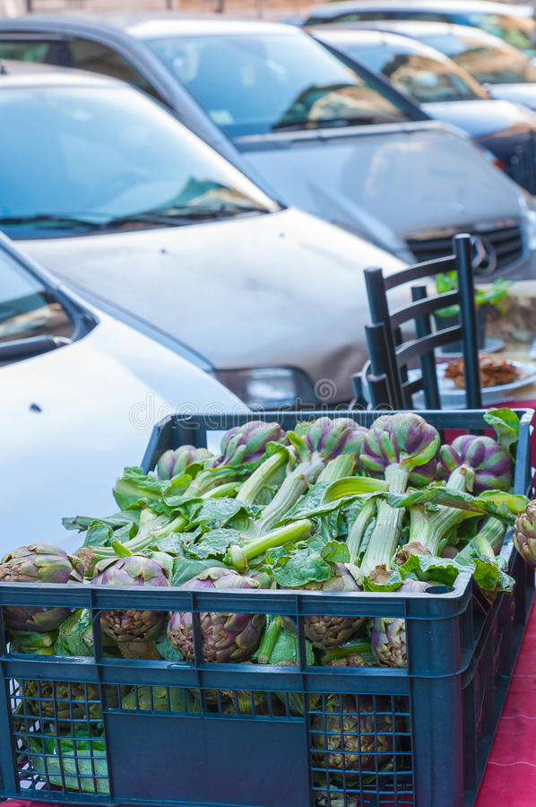 Artichokes at a local market in Rome. royalty free stock photography