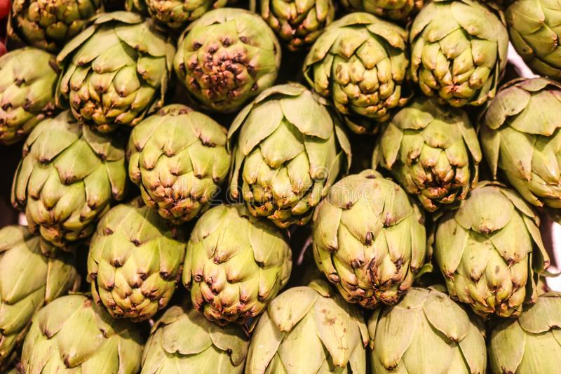 Artichokes for sale in a local market royalty free stock images