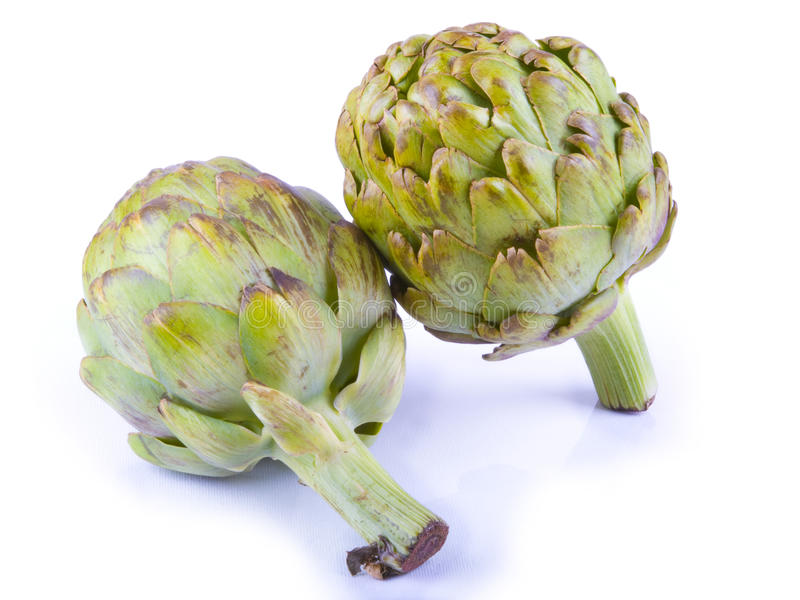 Artichokes on White Background royalty free stock photography