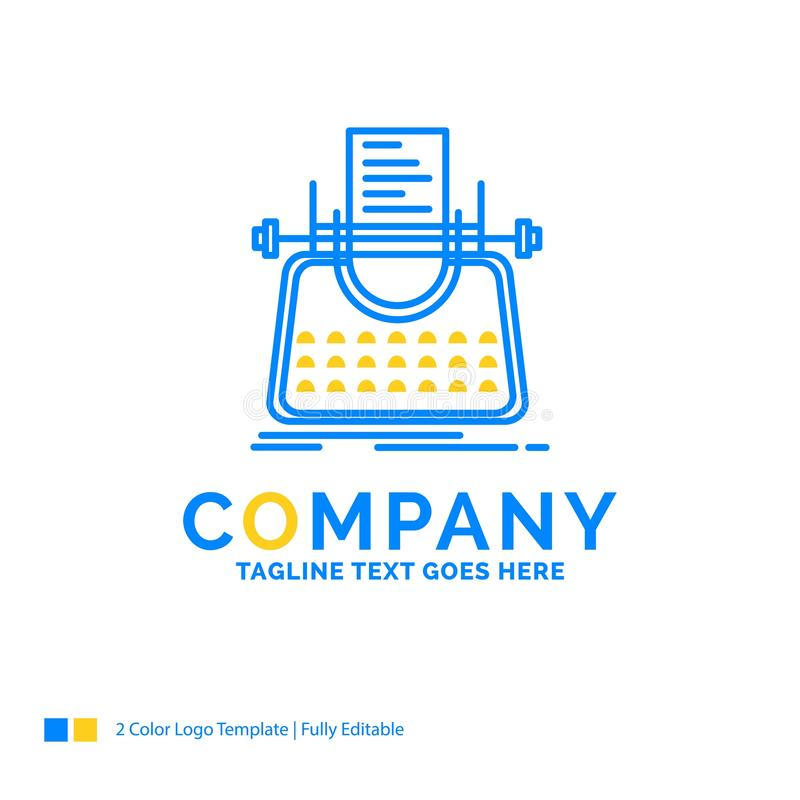 Article, blog, story, typewriter, writer Blue Yellow Business Lo. Go template. Creative Design Template Place for Tagline stock illustration