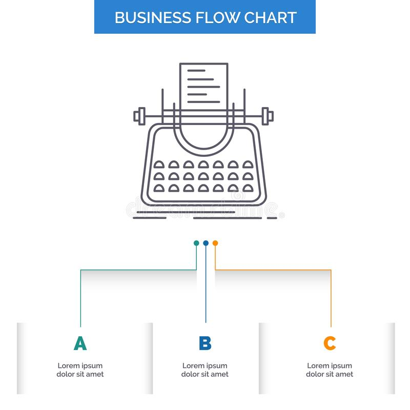 Article, blog, story, typewriter, writer Business Flow Chart Design with 3 Steps. Line Icon For Presentation Background Template. Place for text. Vector EPS10 royalty free illustration
