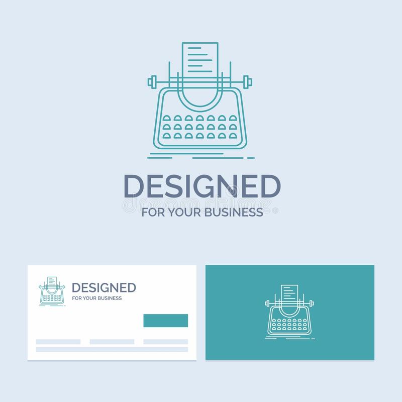 Article, blog, story, typewriter, writer Business Logo Line Icon Symbol for your business. Turquoise Business Cards with Brand. Logo template. Vector EPS10 royalty free illustration