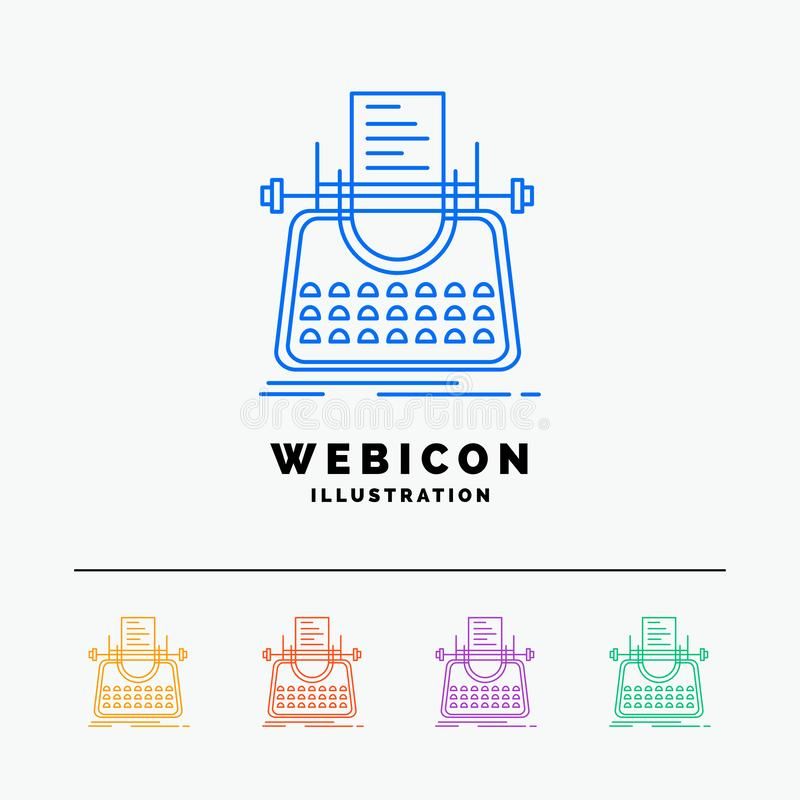 Article, blog, story, typewriter, writer 5 Color Line Web Icon Template isolated on white. Vector illustration. Vector EPS10 Abstract Template background vector illustration