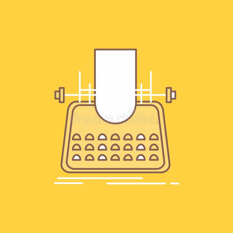 Article, blog, story, typewriter, writer Flat Line Filled Icon. Beautiful Logo button over yellow background for UI and UX,. Website or mobile application vector illustration