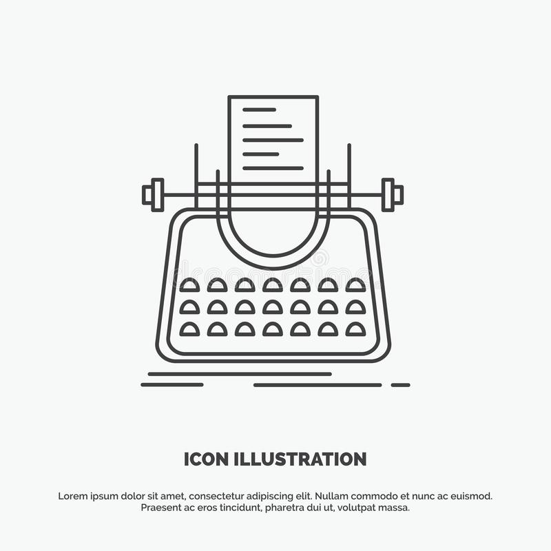 Article, blog, story, typewriter, writer Icon. Line vector gray symbol for UI and UX, website or mobile application. Vector EPS10 Abstract Template background stock illustration