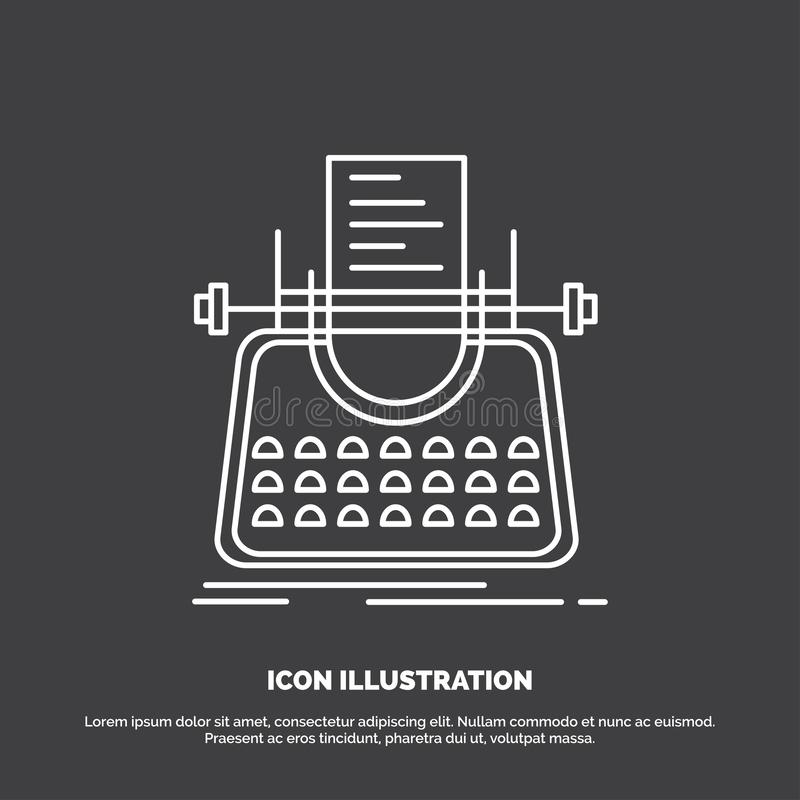 Article, blog, story, typewriter, writer Icon. Line vector symbol for UI and UX, website or mobile application. Vector EPS10 Abstract Template background stock illustration