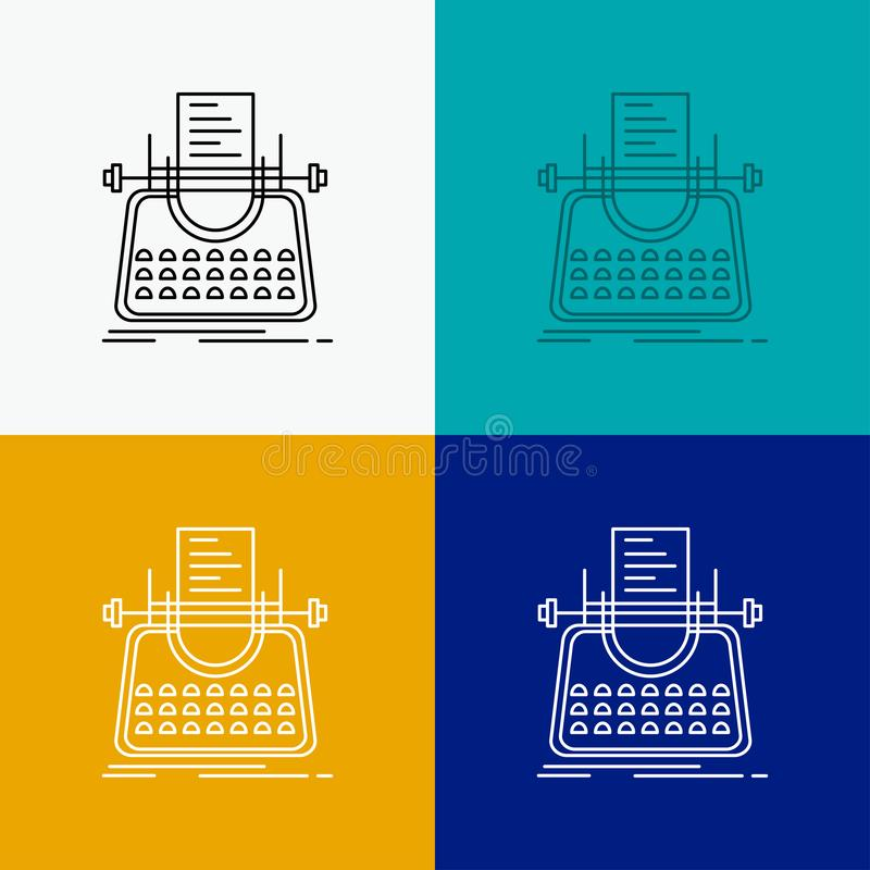 Article, blog, story, typewriter, writer Icon Over Various Background. Line style design, designed for web and app. Eps 10 vector. Illustration. Vector EPS10 stock illustration
