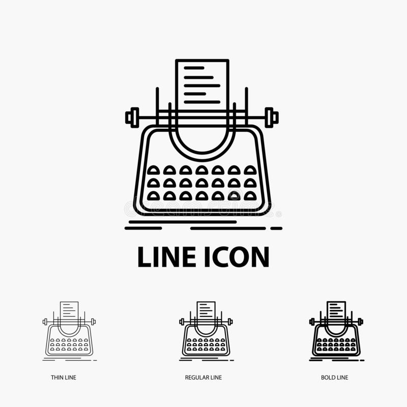 Article, blog, story, typewriter, writer Icon in Thin, Regular and Bold Line Style. Vector illustration. Vector EPS10 Abstract Template background vector illustration