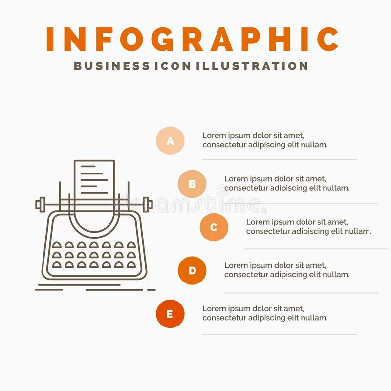 Article, blog, story, typewriter, writer Infographics Template for Website and Presentation. Line Gray icon with Orange. Infographic style vector illustration stock illustration