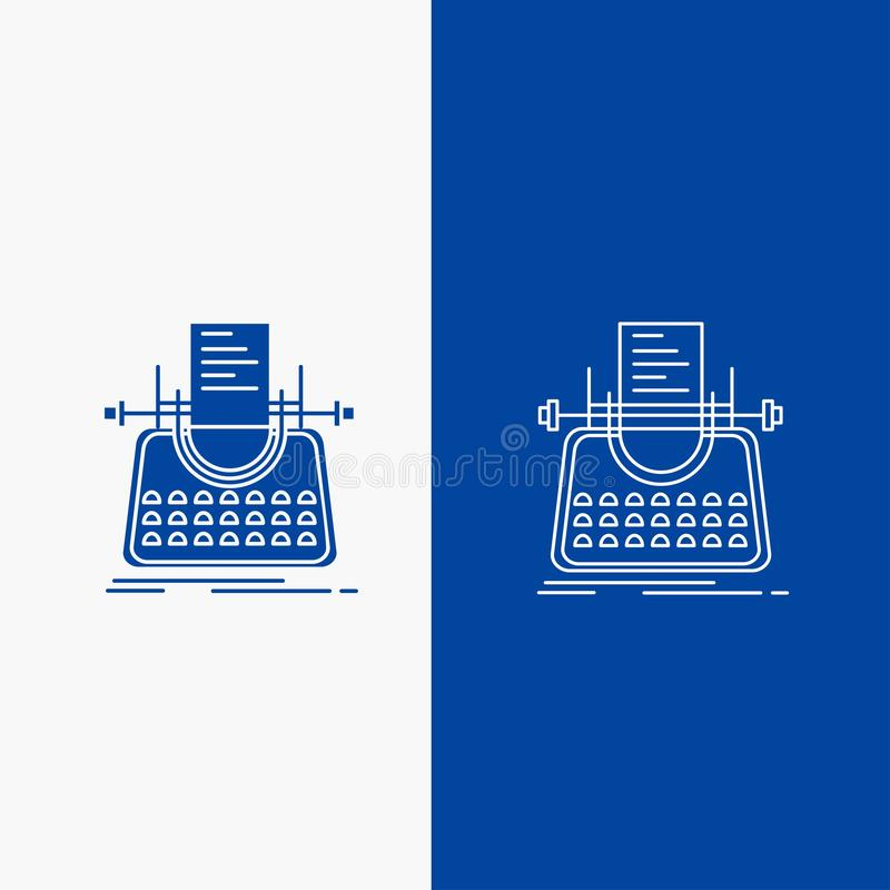 Article, blog, story, typewriter, writer Line and Glyph web Button in Blue color Vertical Banner for UI and UX, website or mobile. Application. Vector EPS10 vector illustration