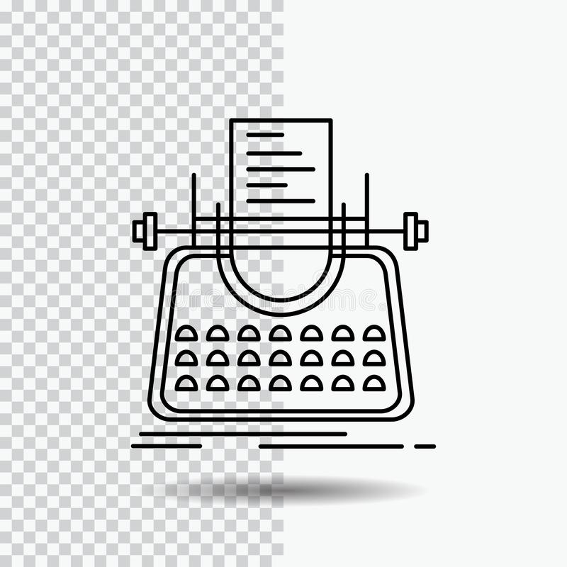 Article, blog, story, typewriter, writer Line Icon on Transparent Background. Black Icon Vector Illustration. Vector EPS10 Abstract Template background vector illustration