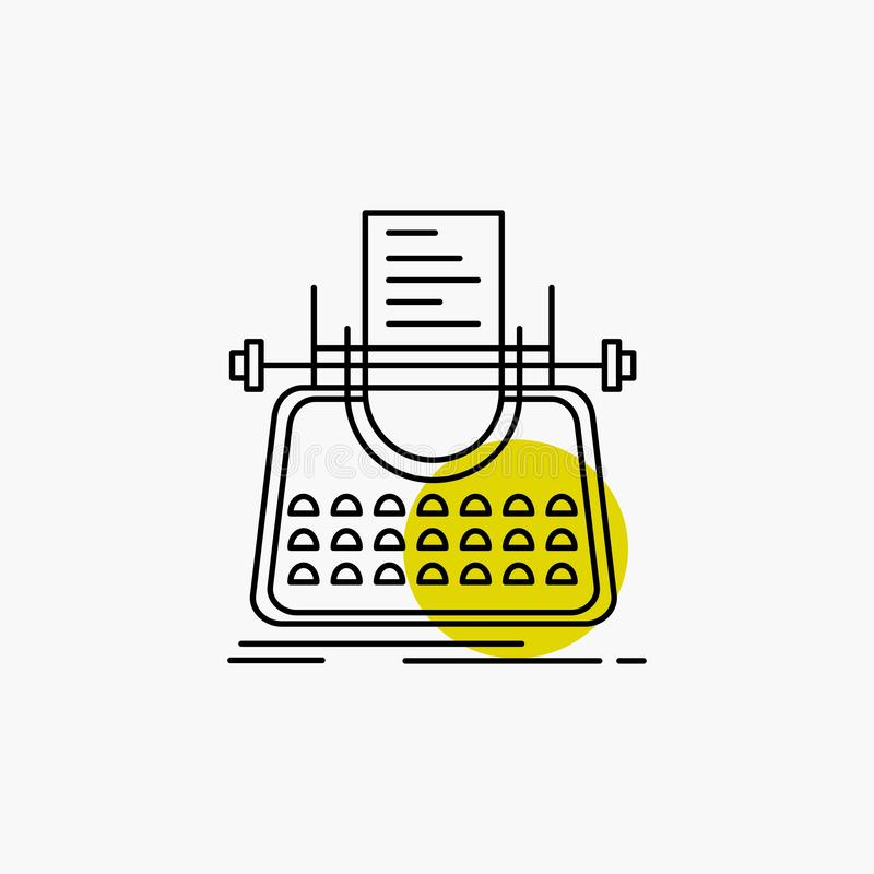 Article, blog, story, typewriter, writer Line Icon. Vector EPS10 Abstract Template background stock illustration