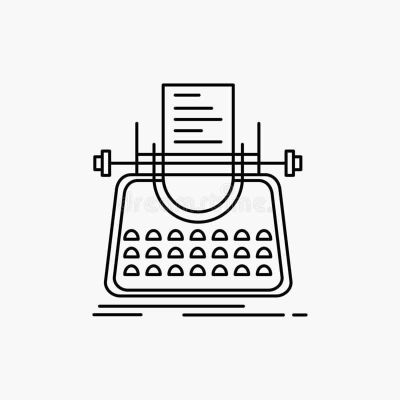 Article, blog, story, typewriter, writer Line Icon. Vector isolated illustration. Vector EPS10 Abstract Template background royalty free illustration