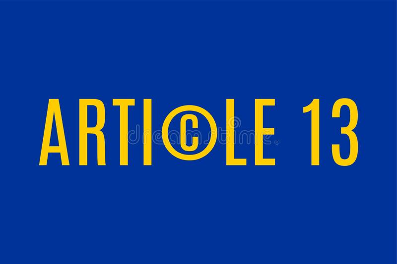 Article 13 directive concept illustration. With copyright symbol stock illustration