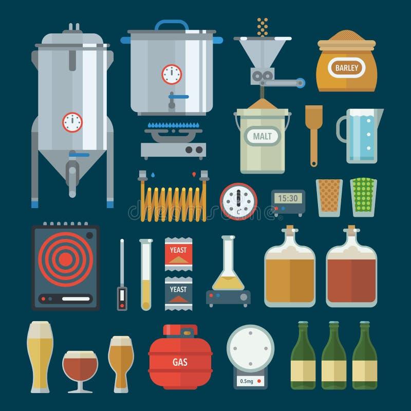 Articles à la maison de production d'usine de brassage Vecteur illustration stock