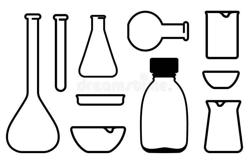 Articles chimiques de laboratoire illustration de vecteur