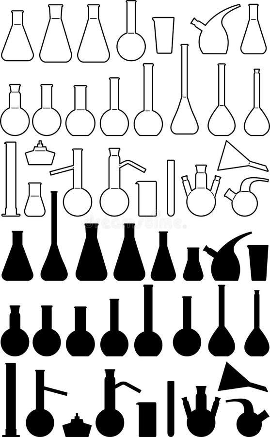 Articles chimiques en verre de laboratoire illustration stock