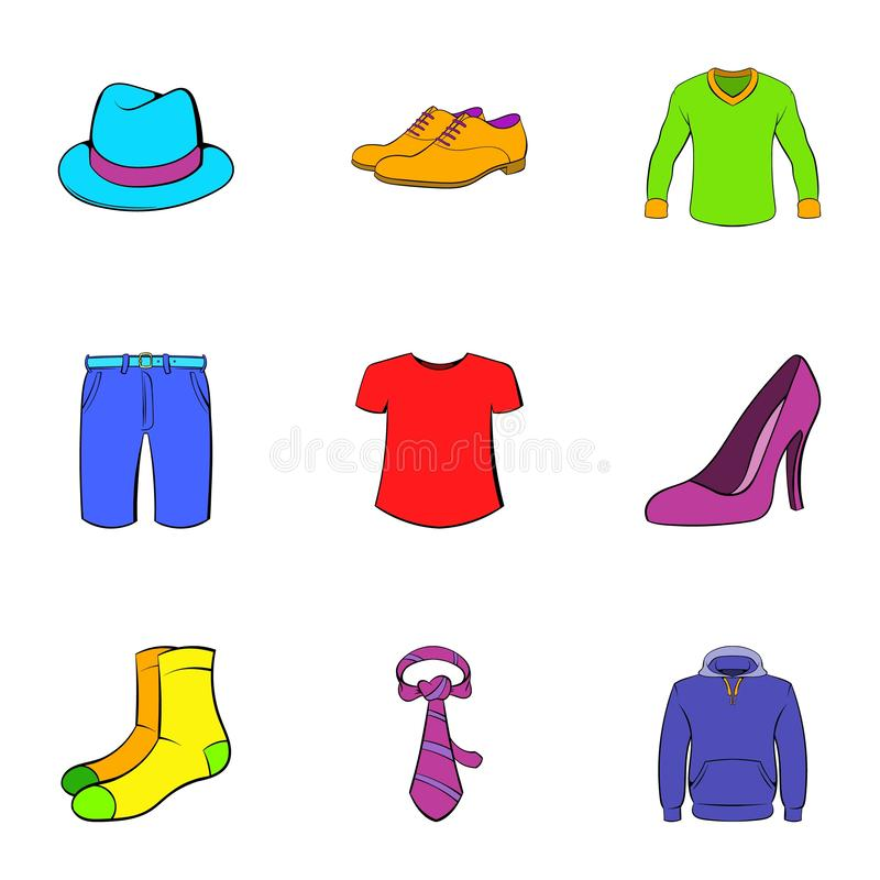 Articles of clothing icons set, cartoon style. Articles of clothing icons set. Cartoon illustration of 9 articles of clothing icons for web royalty free illustration
