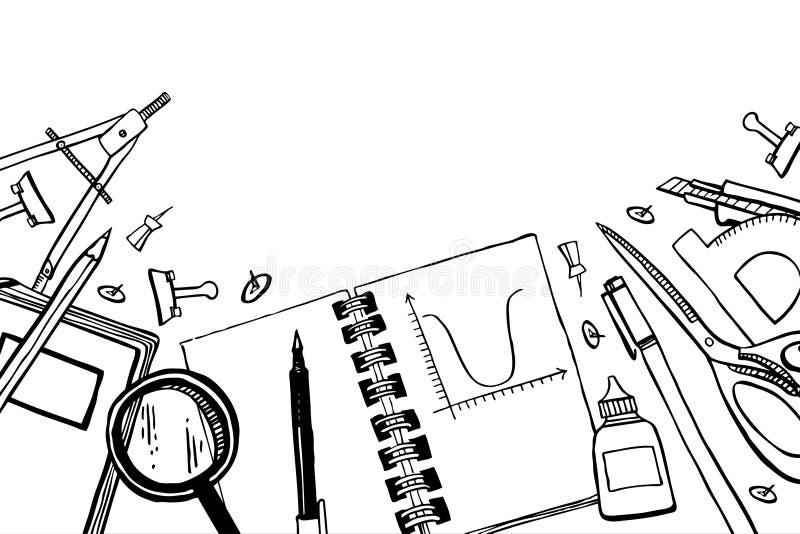 Articles d'?cole Composition avec la vue supérieure de la table de l'élève Illustration tirée par la main de vecteur de croquis d illustration de vecteur