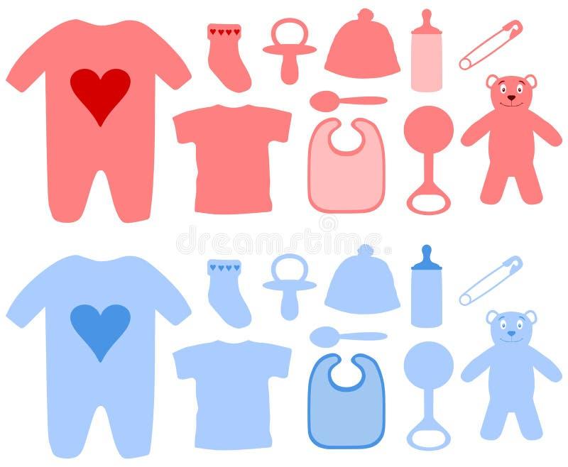 Articles de bébé de filles et de garçons illustration libre de droits