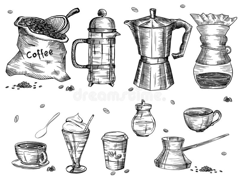 Articles de café illustration stock