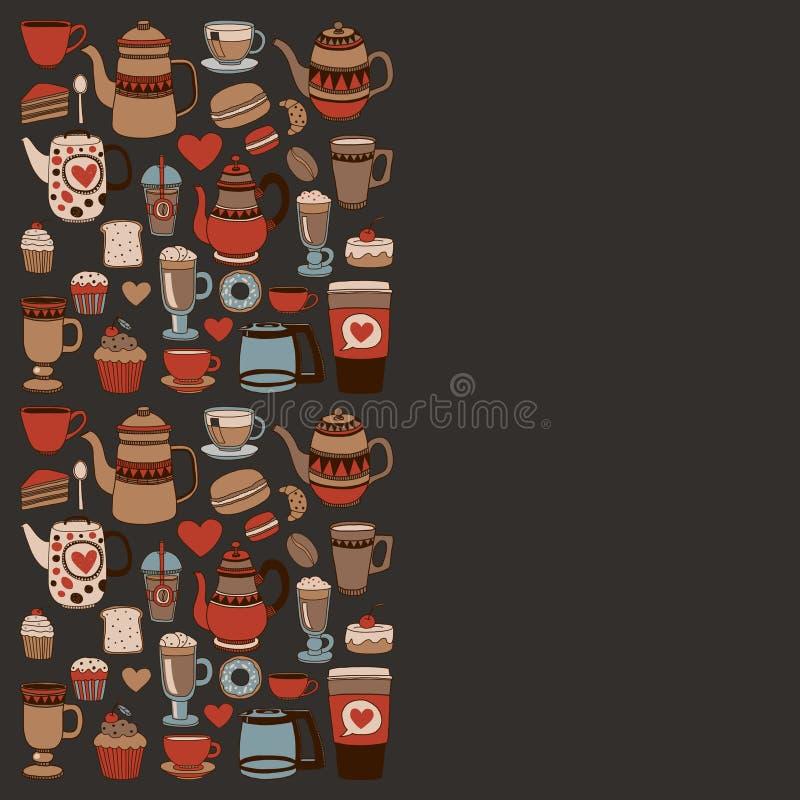 Articles de café de griffonnage avec le modèle sans couture illustration de vecteur