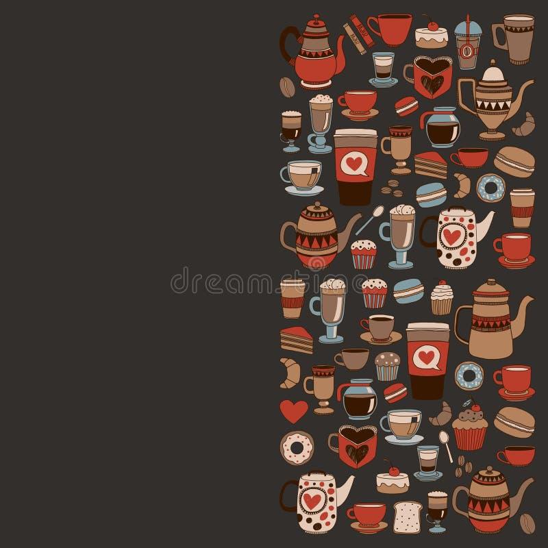 Articles de café de griffonnage avec le modèle sans couture illustration stock