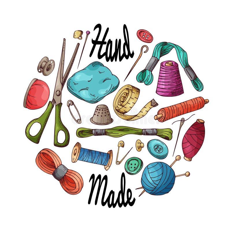 Articles de couture réglés Vecteur travaillant l'équipement Collection tirée par la main de couture illustration stock