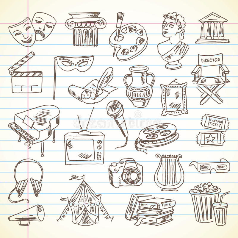 Articles de culture et d'art de dessin de dessin à main levée illustration libre de droits