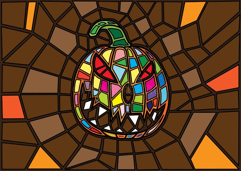 Articles de Halloween les potirons décoratifs de vecteur d'illustration ont souillé le style en verre illustration de vecteur