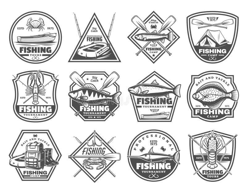 Articles de pêche et visites de pêcheur, icônes de vecteur illustration libre de droits