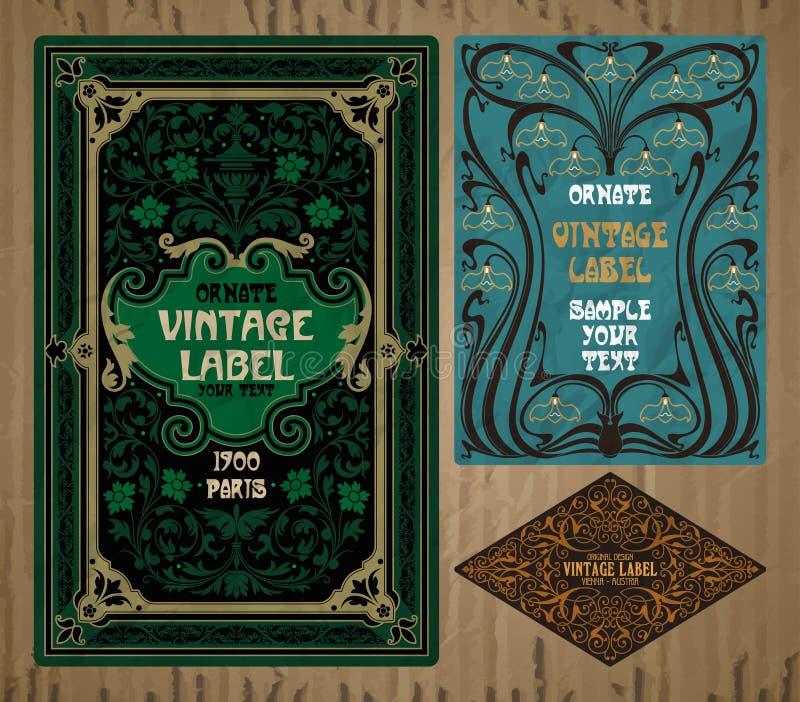 Articles de vintage : label Art Nouveau illustration de vecteur
