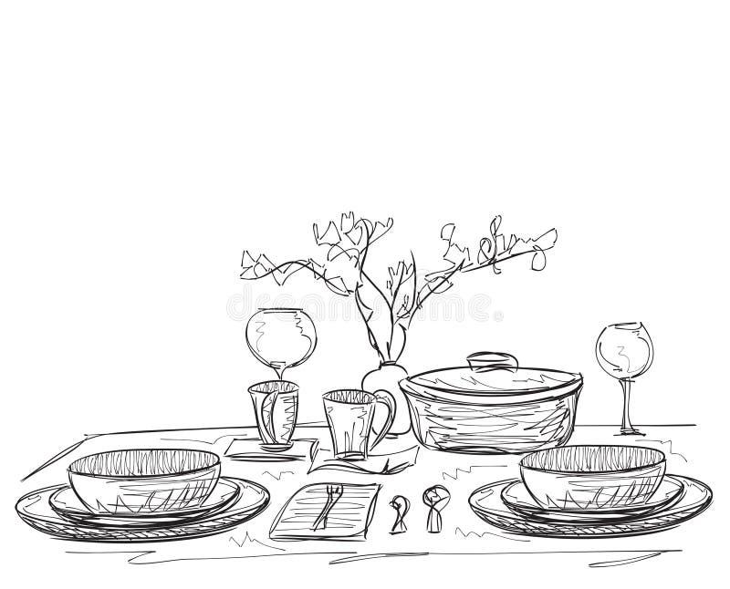 Articles tirés par la main de dîner illustration libre de droits