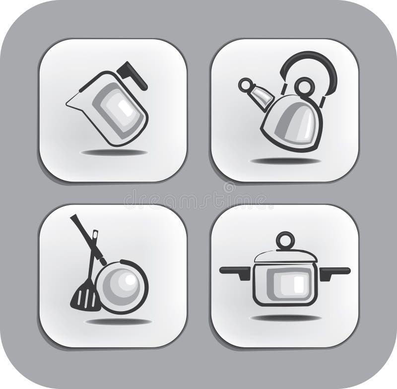 Articoli ed accessori per le icone della cucina illustrazione vettoriale