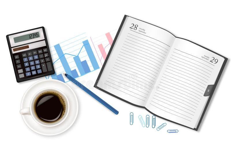 articoli per ufficio del Latteria-libro, della tazza di caffè e. illustrazione di stock