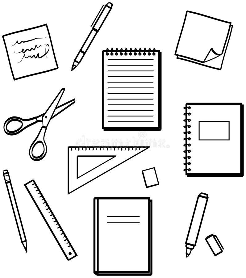 Articoli per ufficio - illustrazioni di vettore royalty illustrazione gratis