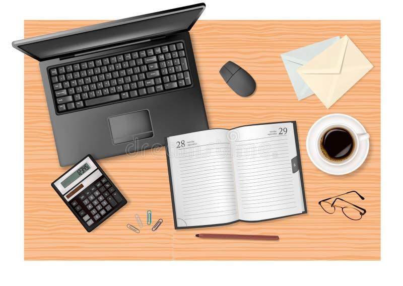 Articoli per ufficio sulla tabella. illustrazione di stock