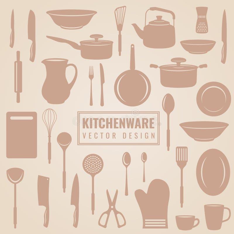Articolo da cucina - attrezzatura ed utensile della cucina nella progettazione stabilita di vettore della siluetta royalty illustrazione gratis
