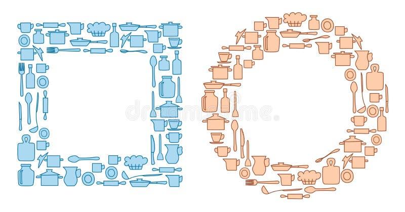 Articolo da cucina blu e beige in in tondo e gruppi del quadrate - vettore royalty illustrazione gratis