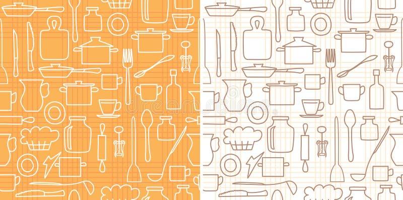 Articolo da cucina di vettore su fondo senza cuciture con le linee royalty illustrazione gratis
