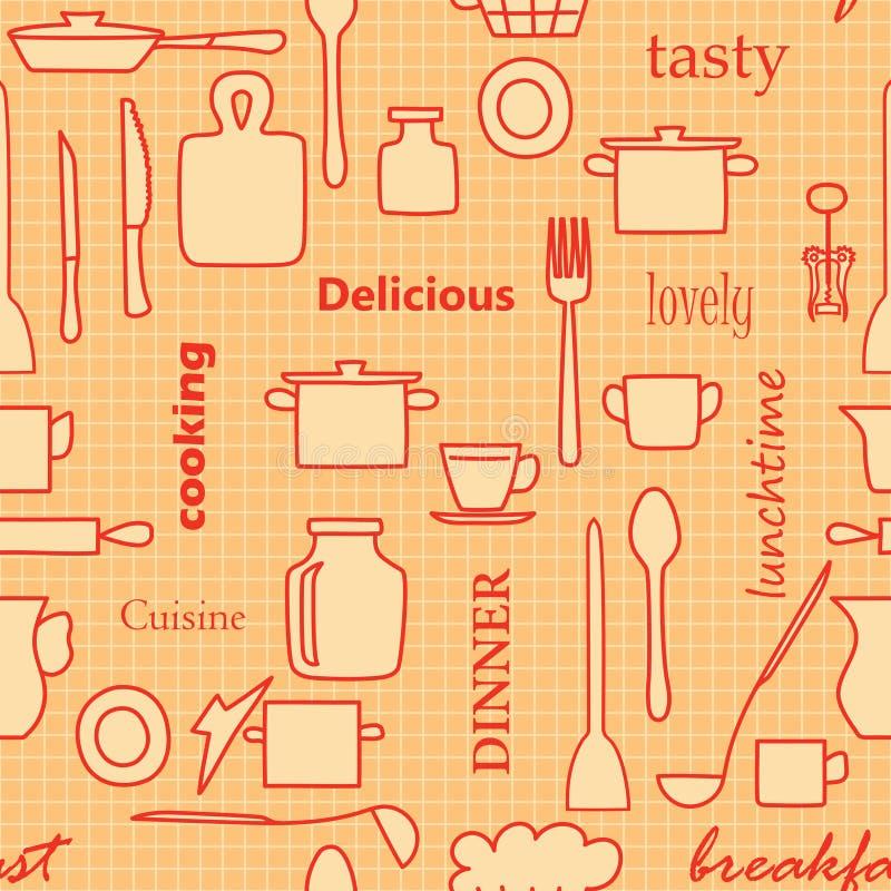Articolo da cucina e parole arancio e rossi - vector il modello senza cuciture royalty illustrazione gratis