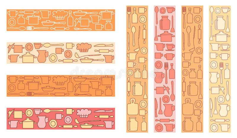 Articolo da cucina variopinto decorativo su fondo colorato - decorazioni di vettore per la cucina o il menu illustrazione di stock