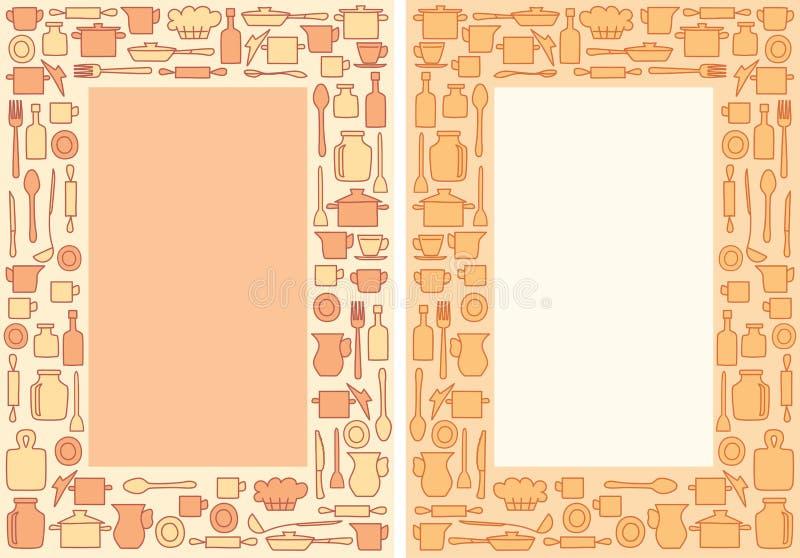 Articolo da cucina variopinto A4 su fondo - struttura decorativa di vettore per il menu illustrazione di stock