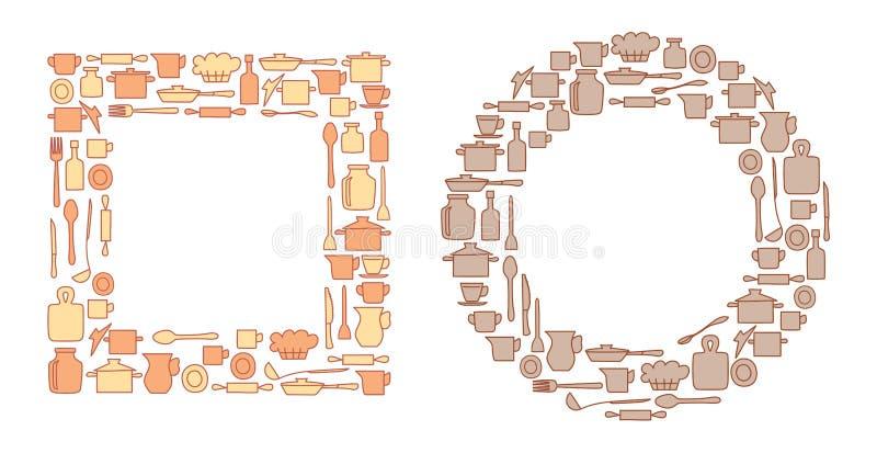 Articolo da cucina variopinto in in tondo e gruppi del quadrate - vettore illustrazione di stock