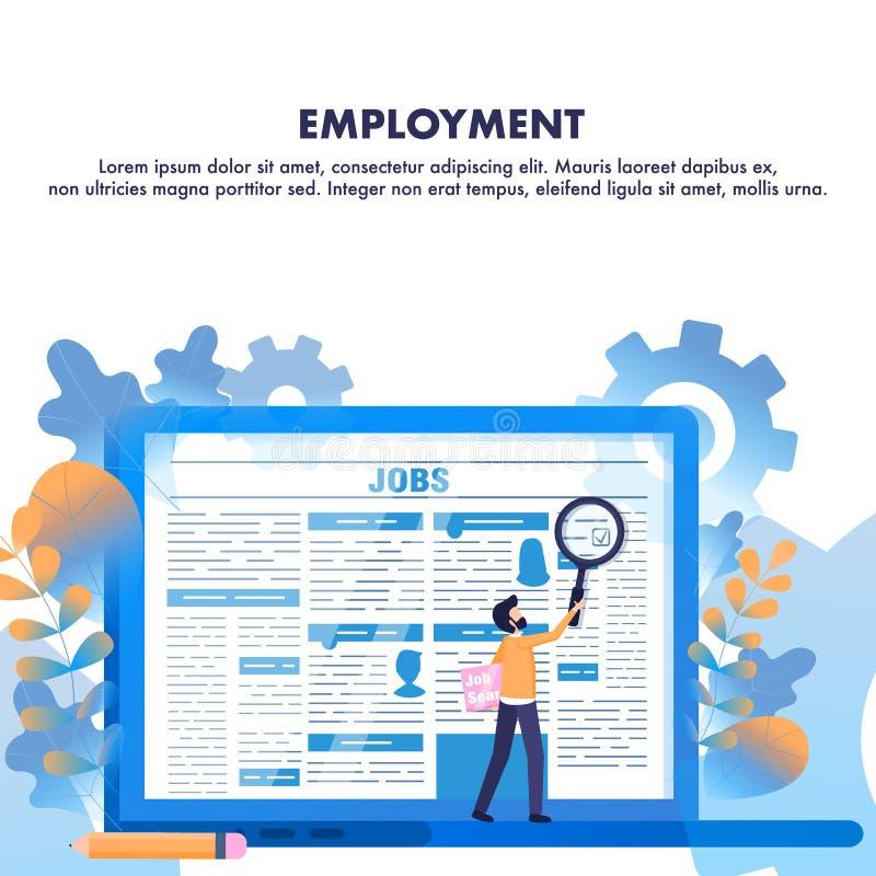 Articolo di stampa di occupazione dello zoom dell'uomo di ricerca di lavoro royalty illustrazione gratis
