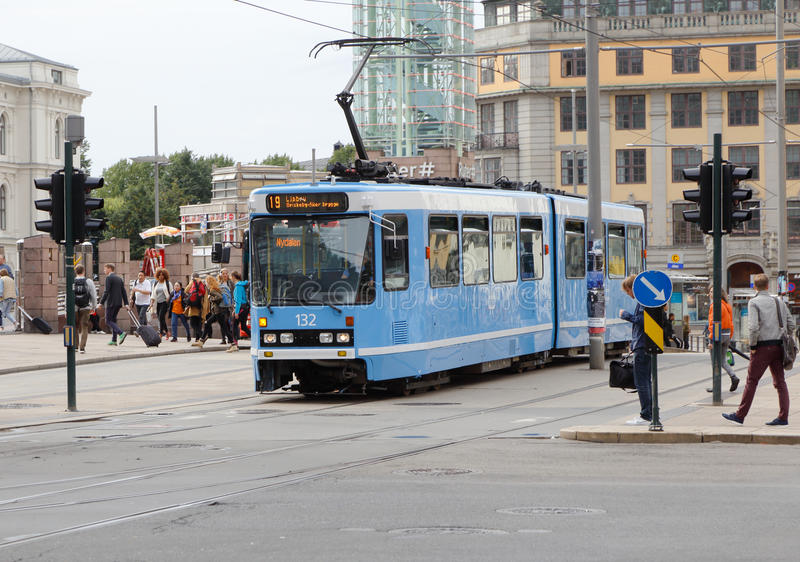 Articulated blue tram royalty free stock images